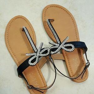 💙3 for $18!  Anna rhinestone bow sandals
